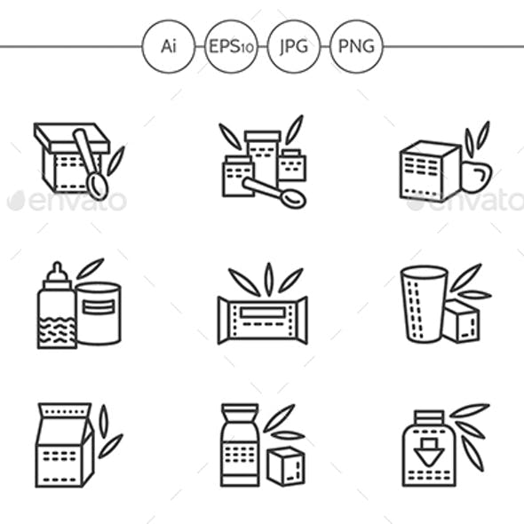 Baby Food Black Simple Line Vector Icons
