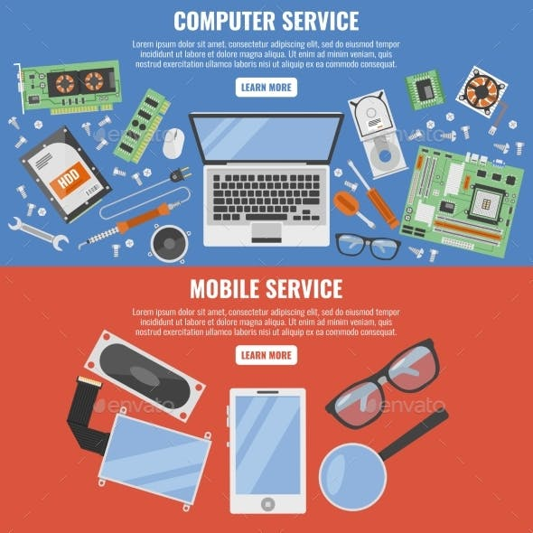 Computer and Mobile Service Banner Set