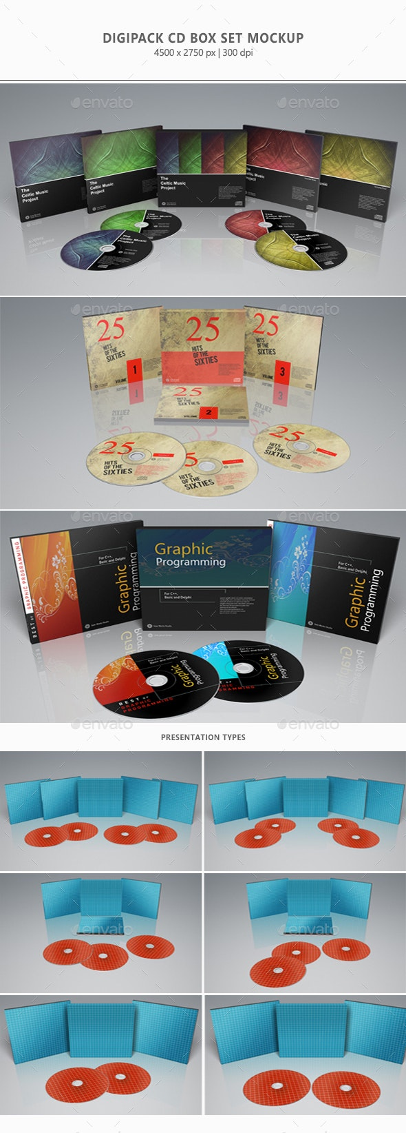Digipak CD Box Set Mock-Up - Discs Packaging