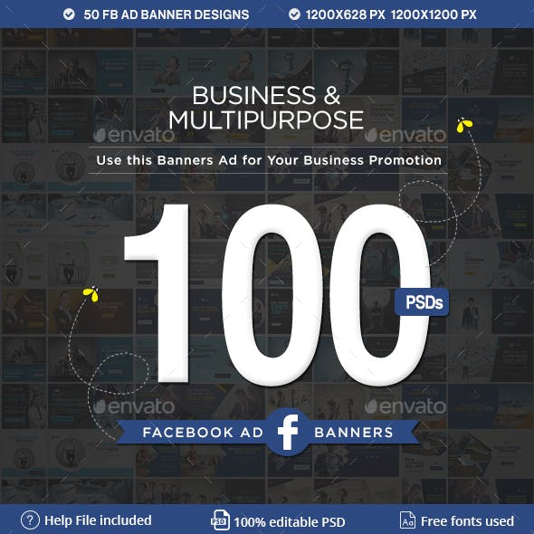 Facebook Ad Banners - 50 Designs - 2 Sizes Each