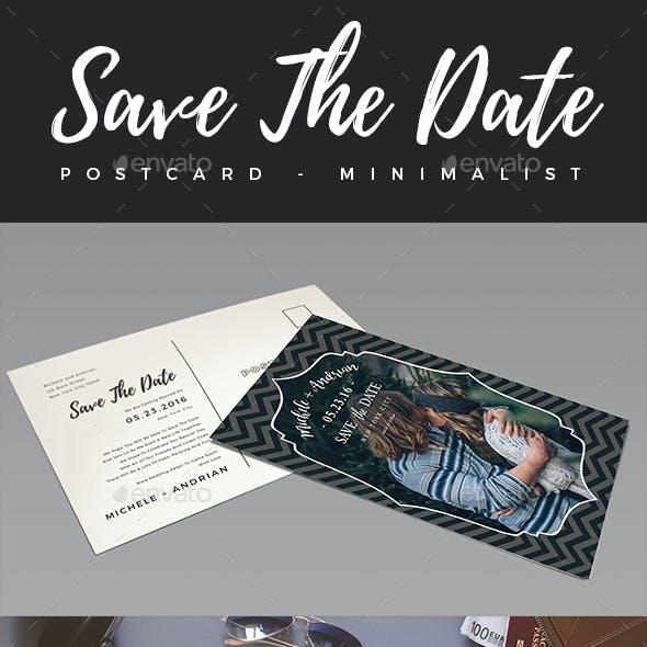 Elegant Minimalist Save The Date Postcard #1