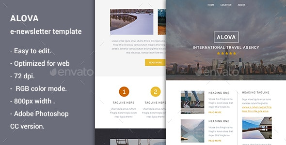 Alova - Travel Agency Email Template - E-newsletters Web Elements