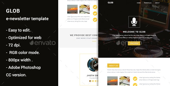 Glob - Multipurpose E-Newsletter Template - E-newsletters Web Elements