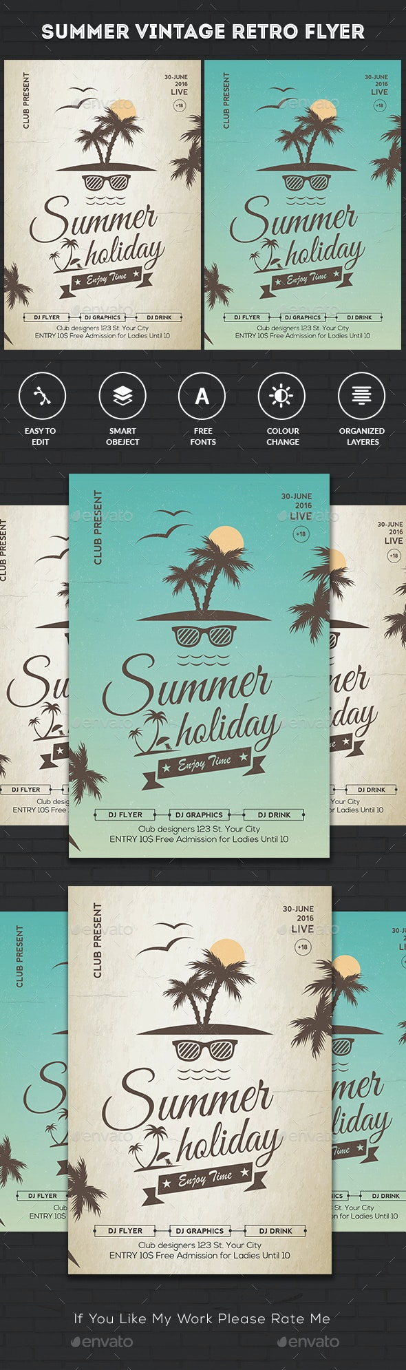 Vintage Summer Party Flyer - Clubs & Parties Events