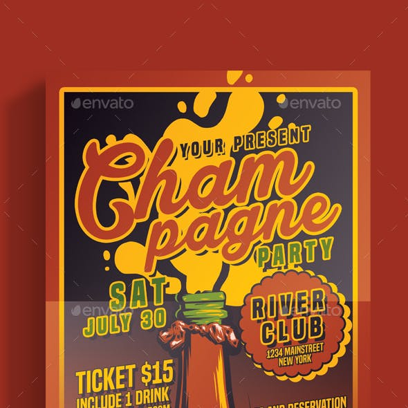 Champagne Party Vector Flyer