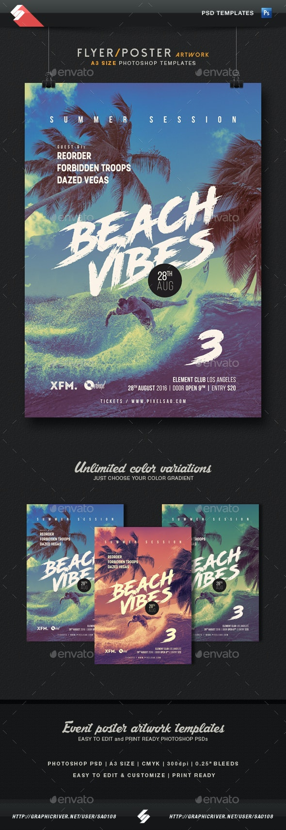 Beach Vibes 3 - Summer Party Flyer / Poster Template A3 - Clubs & Parties Events