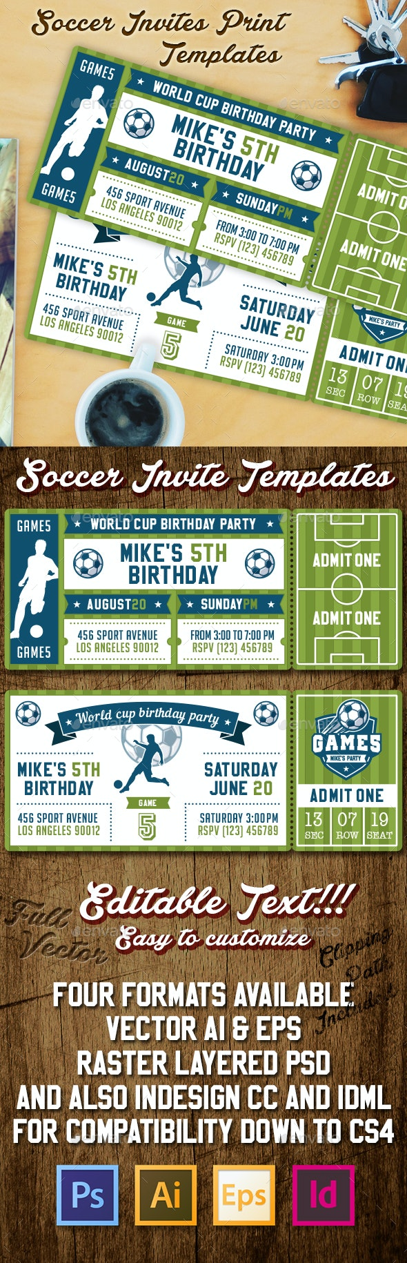 Vector Soccer Party Invites - Sports/Activity Conceptual