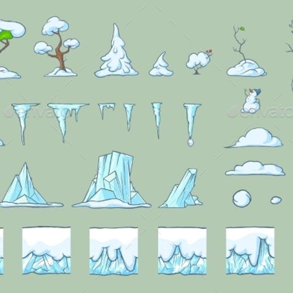Winter Tile Set for Platformer Game Seamless