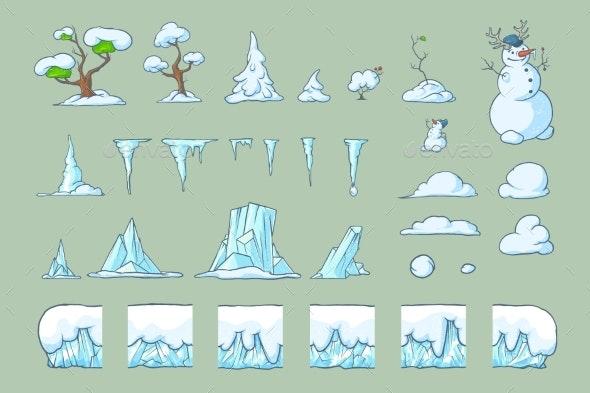 Winter Tile Set for Platformer Game Seamless - Tilesets Game Assets