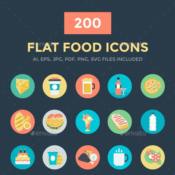 200 Flat Food Vector Icons