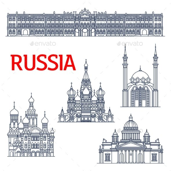 Thin Line Landmarks for Tourism in Russia or USSR