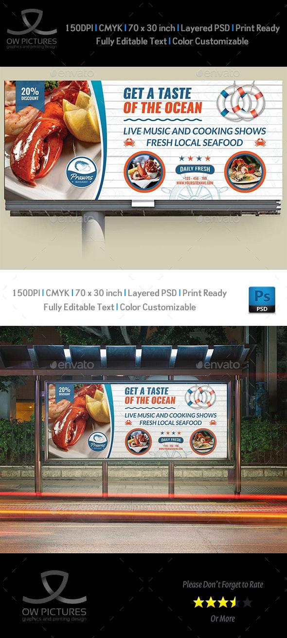 Seafood Restaurant Billboard Template - Signage Print Templates