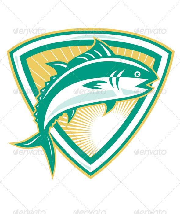 Bluefin Tuna Fish Jumping With Shield Retro
