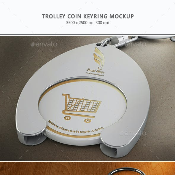 Trolley Coin Keyring Mock-up