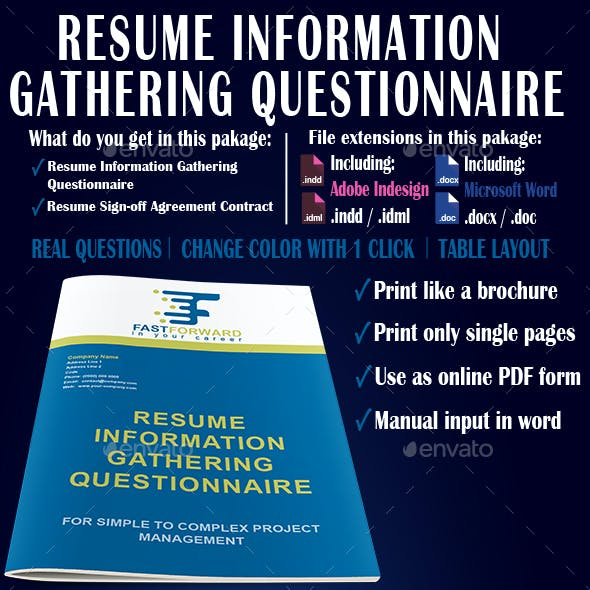 Resume Information Gathering Questionnaire By Paljas Graphicriver