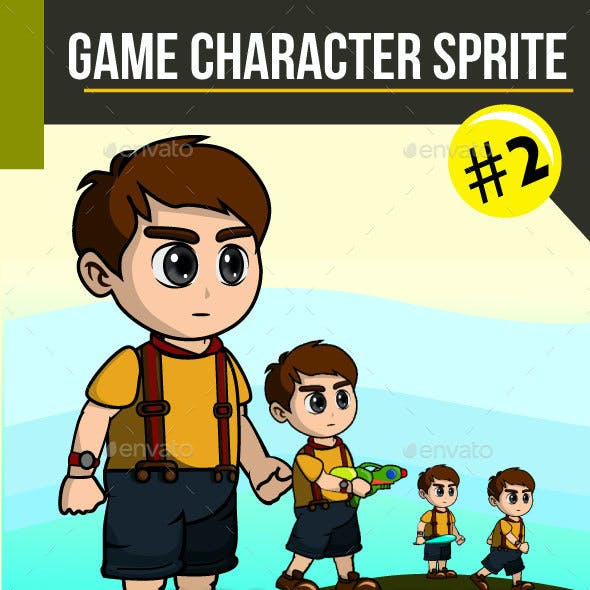 2D Adventure Boy Sprite Character