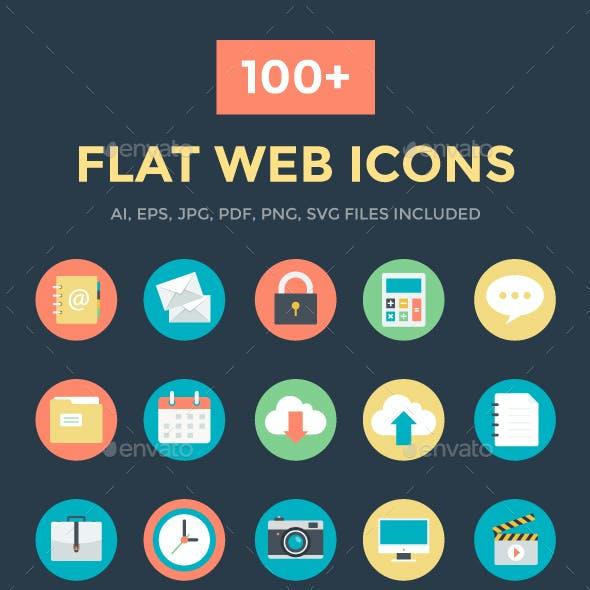 100+ Flat Web Icons