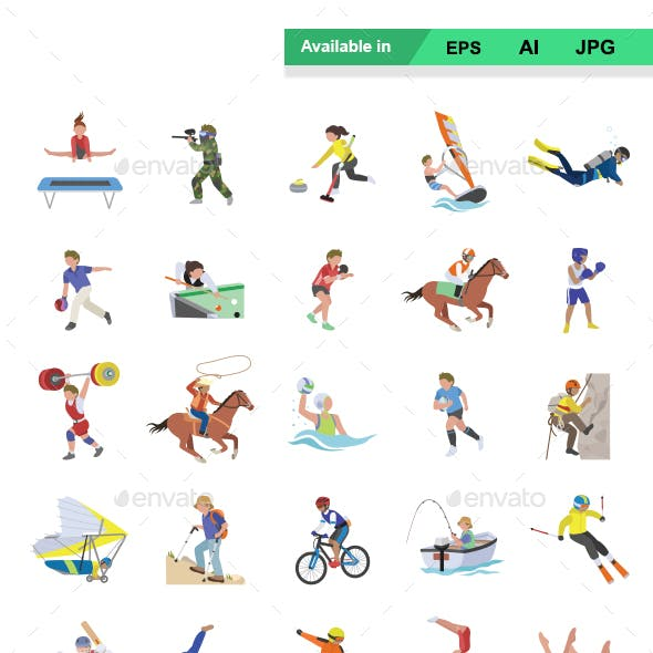 Sports II color vector icons