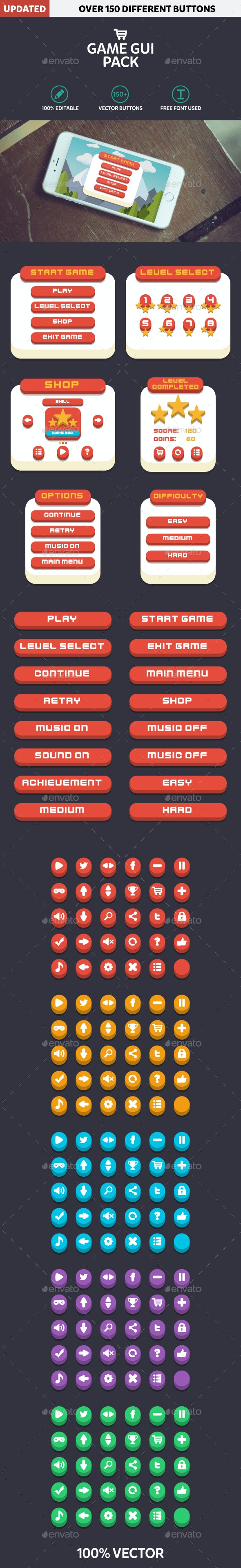 Mobile Game GUI Pack Flat Modern - User Interfaces Game Assets