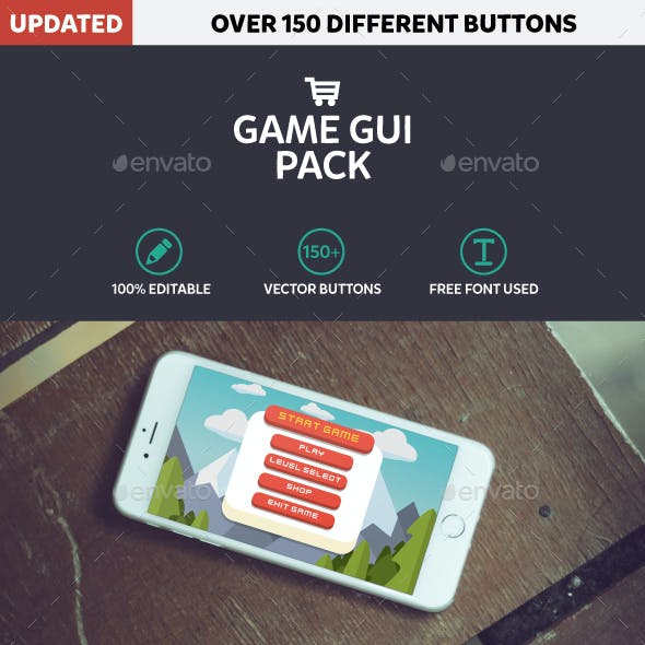 Mobile Game GUI Pack Flat Modern