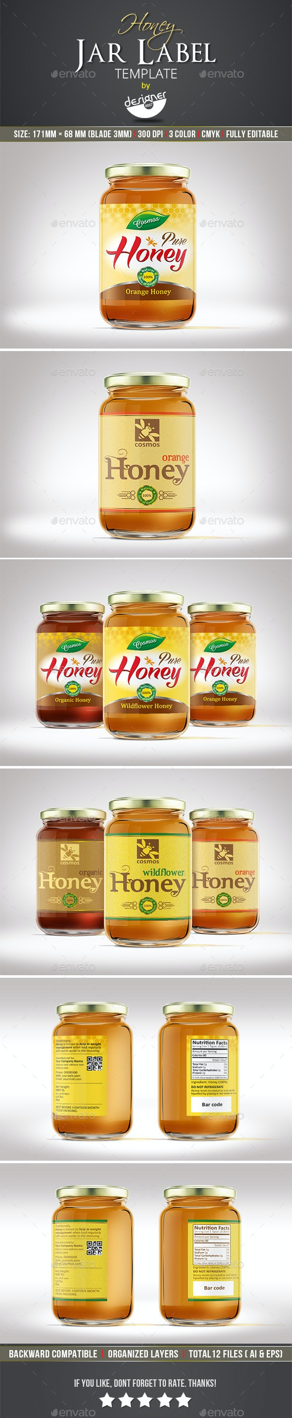 Honey Jar Label Template - Packaging Print Templates