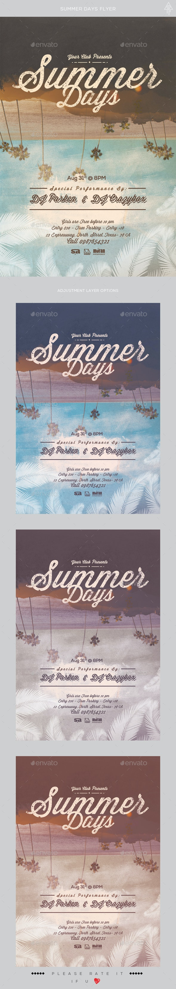 Summer Days Flyer - Clubs & Parties Events