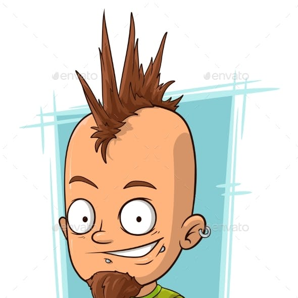 Cartoon Punk with Mohawk Hairstyle