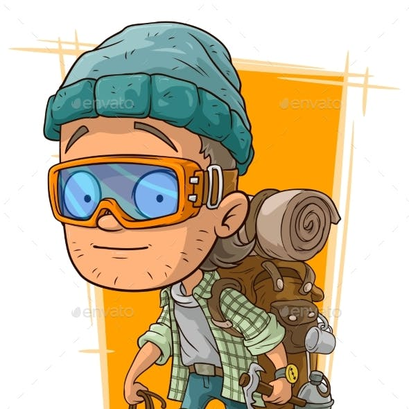 Cartoon Man in Eyeglasses with Backpack