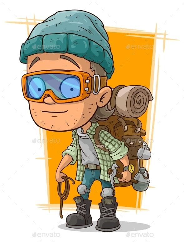 Cartoon Man in Eyeglasses with Backpack - People Characters