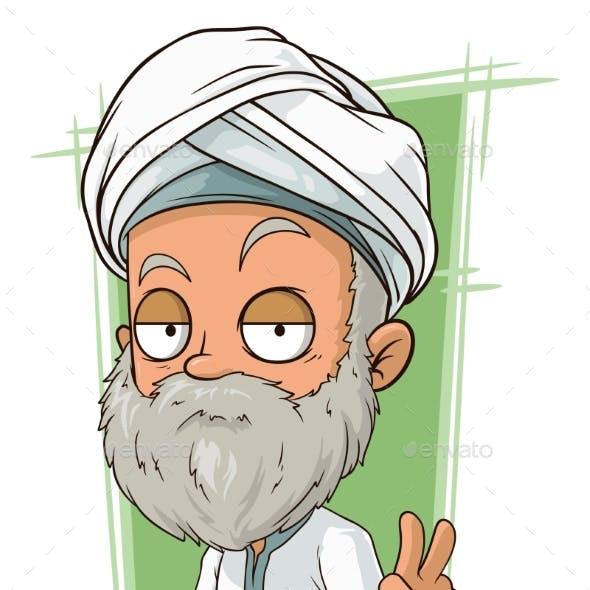 Cartoon Old Arabian Man with Beard