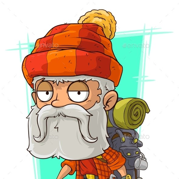 Cartoon Old Tired Bearded Climber