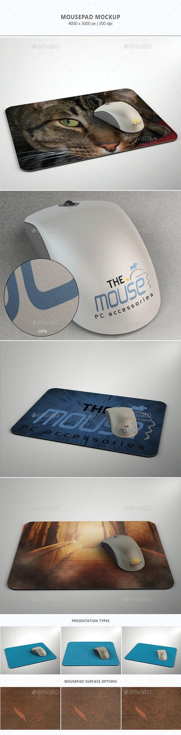 Mousepad/Mouse Mock-up - Miscellaneous Product Mock-Ups