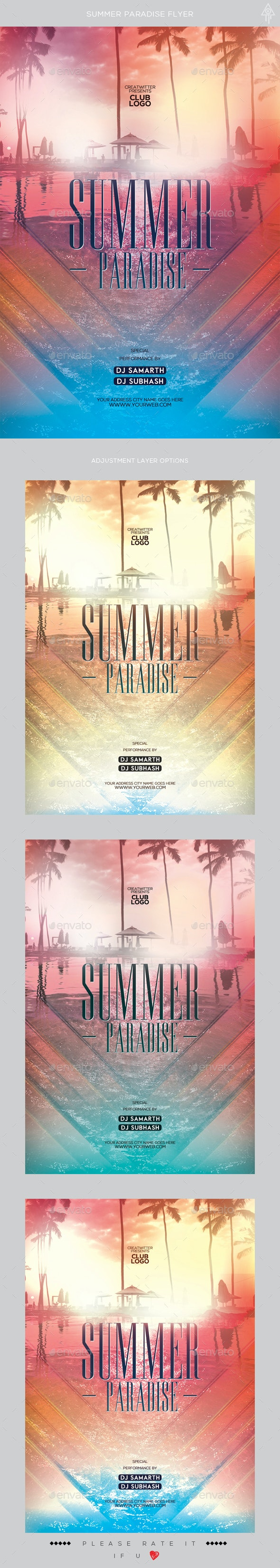 Summer Paradise Flyer - Clubs & Parties Events