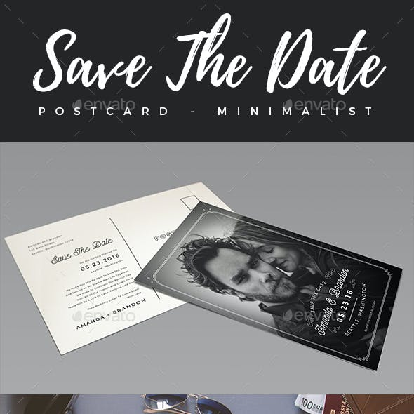 Elegant Minimalist Save The Date Postcard #2