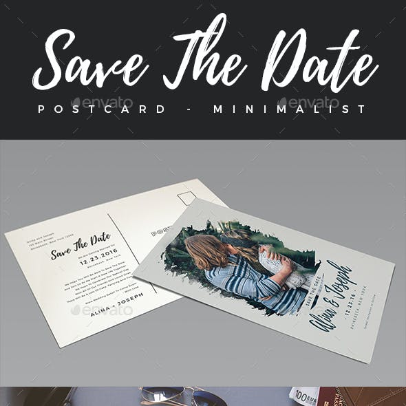 Elegant Minimalist Save The Date Postcard #3