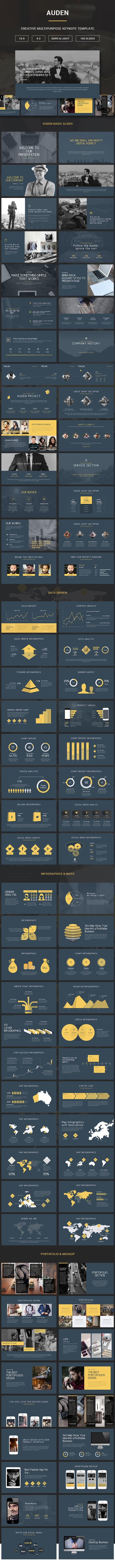 Auden - Creative Keynote Pitch Deck - Creative Keynote Templates