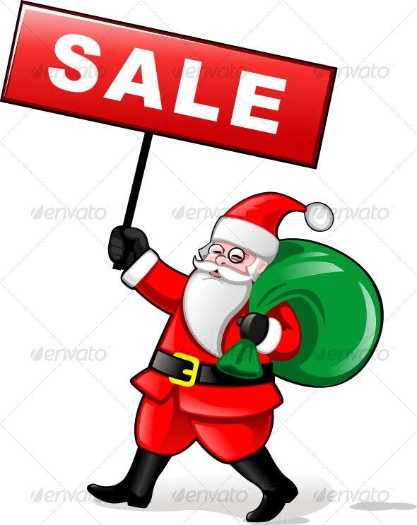 Santa holding Sale Banner - Characters Vectors