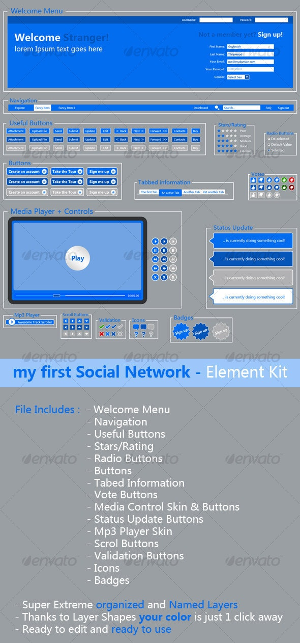 my first Social Network - Element Kit - Web Elements
