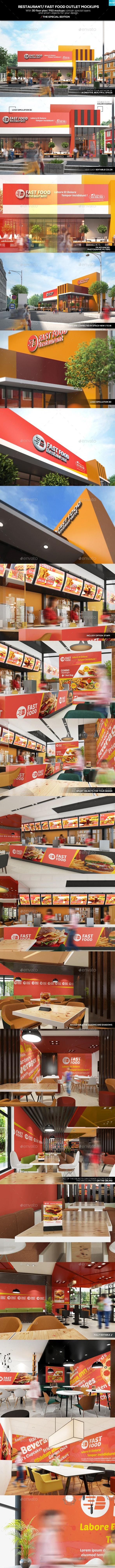 Restaurant/ Fast Food Outlet Mockups - Signage Print