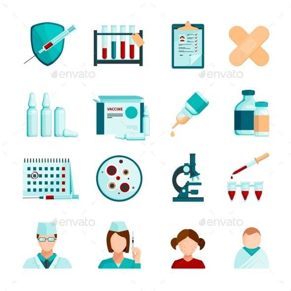 Vaccination Flat Icons Set