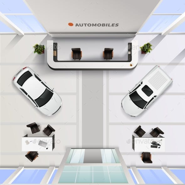 Top View Office Interior Of Automobile Salon