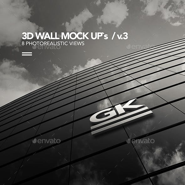 3D Logo Signage Wall Mock Up / v.3
