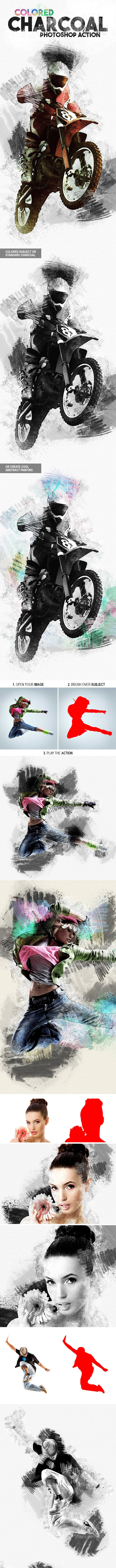 Colored Charcoal Photoshop Action - Photo Effects Actions