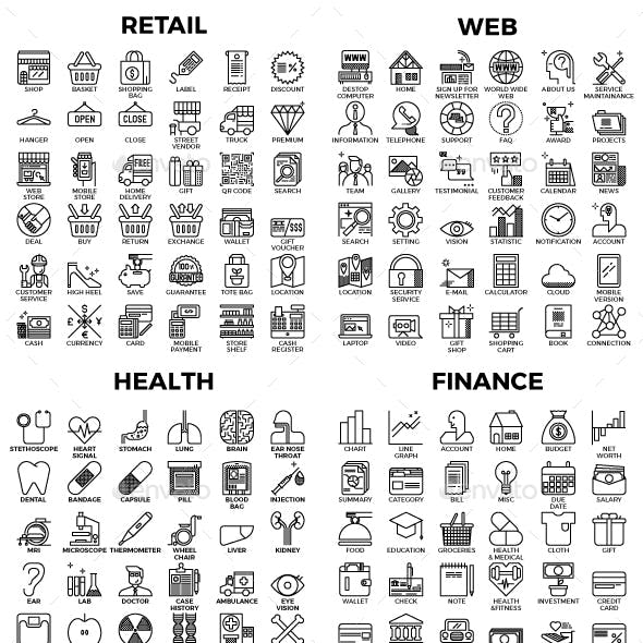 432 Detailed Business Outline Icons