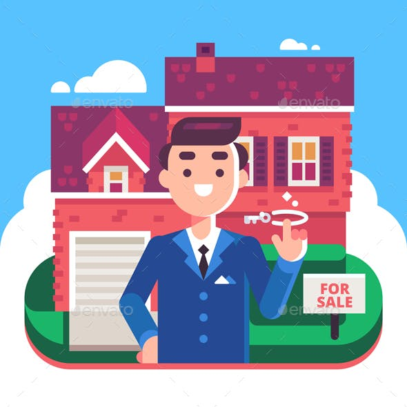 Real Estate Agent and House for Sale