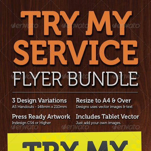 Try My Service, A5 Flyer Set