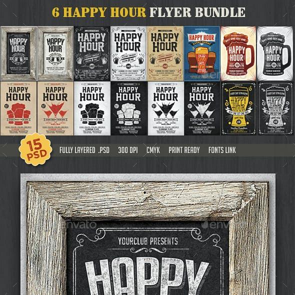 15 Happy Hour Flyer Bundle