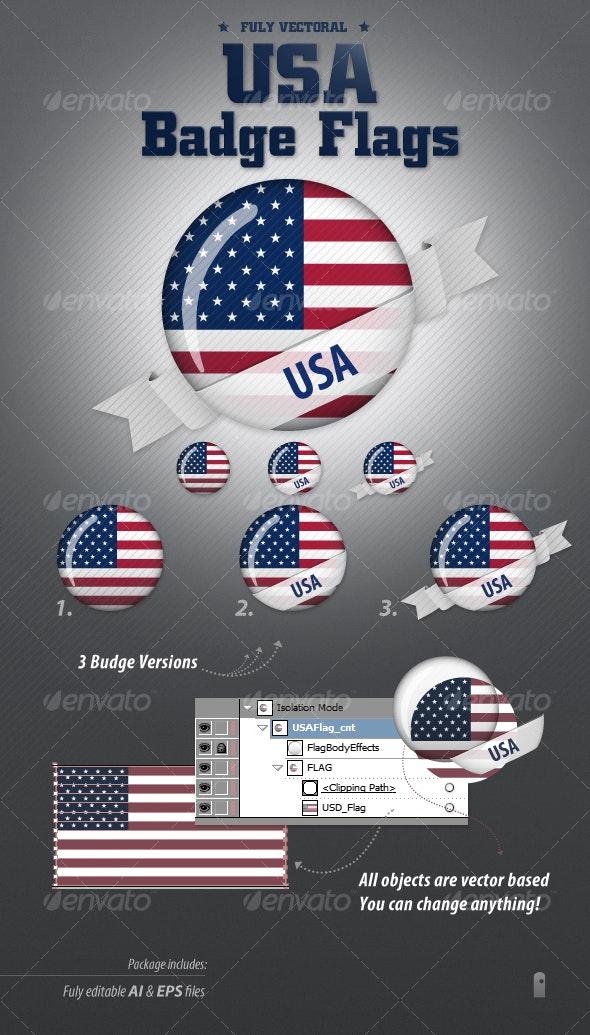 American Flag Badges - Decorative Vectors