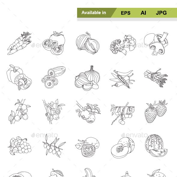 Fruit and Vegetables outlines vector icons