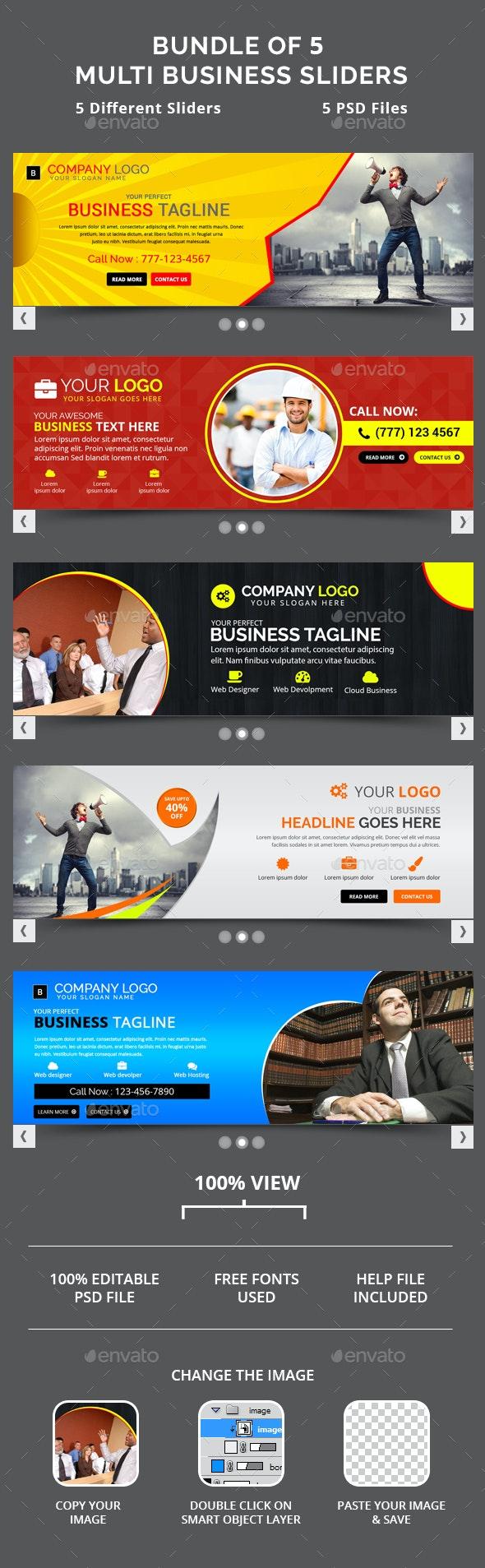 Bundle of 5 Business Sliders - Sliders & Features Web Elements